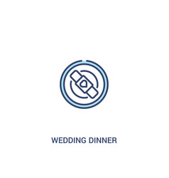 Wedding dinner concept 2 colored icon simple line vector