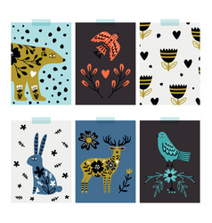 wild animals cards vector image