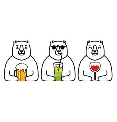 With bear animal set drinks red wine glass vector