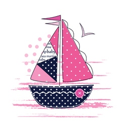 With cute patchwork sailboat vector