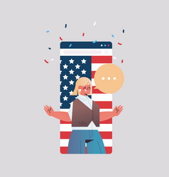 Woman celebrating 4th july american vector