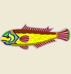 yellow monster fish with brown back and red fins vector image