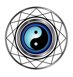 Ying Yang symbol with blue glow vector
