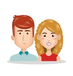 young couple characters icon vector image