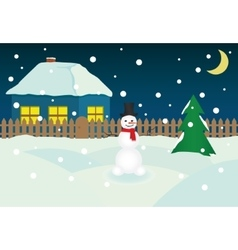 Christmass Night Snowman vector image vector image