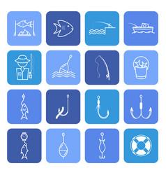 Fishing thin line icons set vector