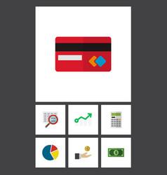 icon flat finance set of arrow credit card vector image