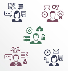 Icons of different employee with their specializat vector