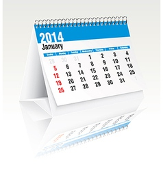 January 2014 desk calendar vector