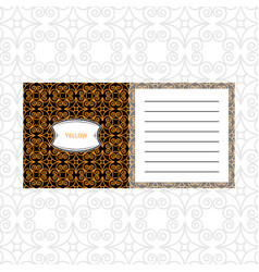 notepad design with yelow geometric pattern vector image