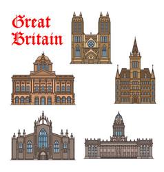 travel landmark of great britain icon set vector image vector image