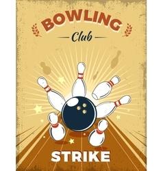 Bowling Club Retro Style Design vector image vector image