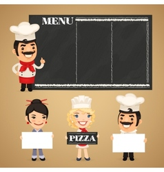 Chefs Presenting Empty Banners vector image vector image