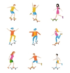 Skateboard characters set vector image vector image