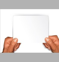 Arms with blank card vector image vector image