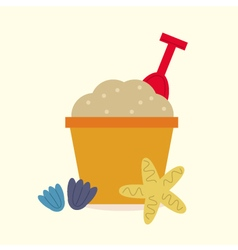 Cute beautiful Sand pail isolated on yellow vector image
