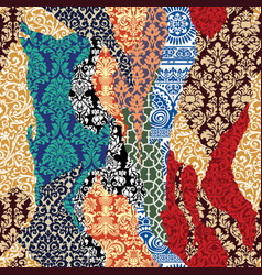 damask ripped patchwork vector image vector image