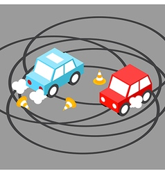 Drift car isometric vector image vector image