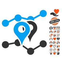 geo trends icon with valentine bonus vector image