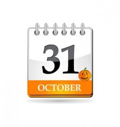 Halloween calendar with pumpkin vector image