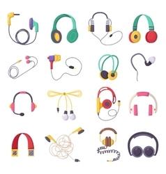 headphone icons set on white background vector image