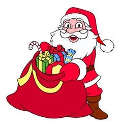 Santa Claus with sack full of gifts vector image