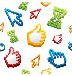 thumbs up sign computer cursor and arrows pattern vector image vector image