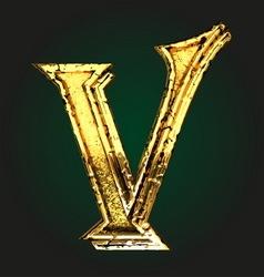v golden letter vector image vector image