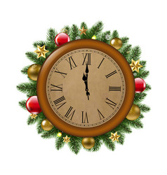 clock with fir tree and ball vector image vector image