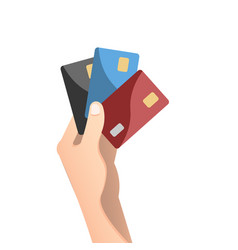 hand holding credit card in flat design style vector image