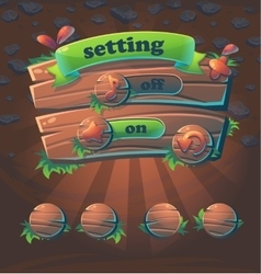 Wooden user interface window setting vector image vector image