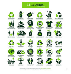 36 symbols for eco recycling vector image