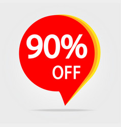 90 percent off discount sticker sale red tag vector image