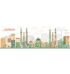 Abstract Sanaa Yemen Skyline with Color Buildings vector