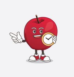 apple cartoon mascot character holding a clock vector image
