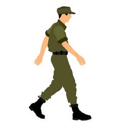 Army soldier walking in uniform after duty vector