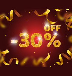 banner 30 off with share discount percentage gold vector image