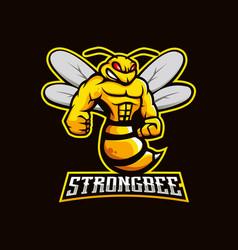 Bee mascot logo design with modern vector