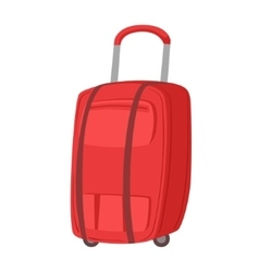 Big Red Suitcase On Wheels With Telescopic Handle vector