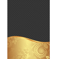 black and gold background with floral ornaments vector image