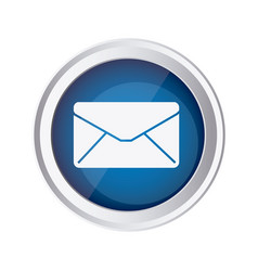 blue emblem close message envelope icon vector image