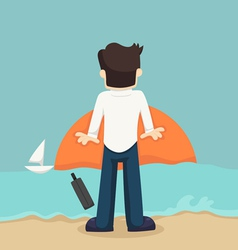 Businessman relaxing on the beach vector image
