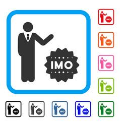 Businessman show imo token framed icon vector