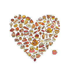 cakes and sweets collection heart shape for your vector image