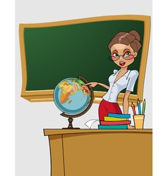 cartoon beautiful woman teacher shows on the globe vector image