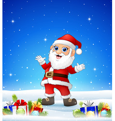 Cartoon santa in the winter background with gift b vector