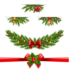 christmas garland big collection white background vector image
