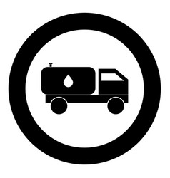 cistern truck icon black color in circle vector image