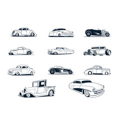 classic cars collection vector image