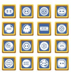 clothes button icons set blue square vector image